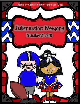 Subtraction Memory - Football Theme