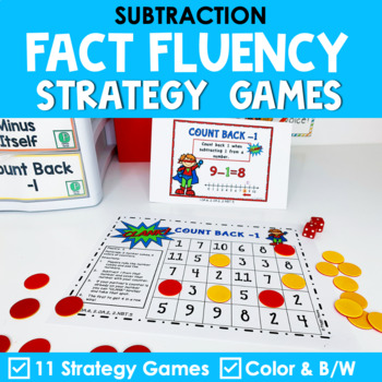 Math Fact Fluency Subtraction Games - Super Hero Theme