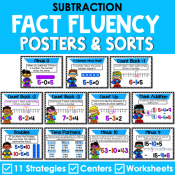 Subtraction Mental Math Strategy Posters - Super Hero Theme