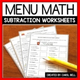 Subtraction Money Worksheets and Word Problems Menu Math