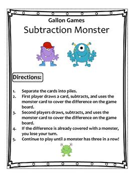 Subtraction Monster (2 Digit - 2 Digit)