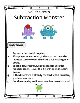Subtraction Monster (2 Digit - 1 Digit)