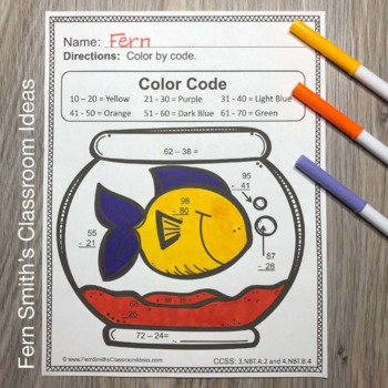 3rd Grade Go Math 1.10 Color By Numbers Subtraction Multi-Digit Numbers to 1000