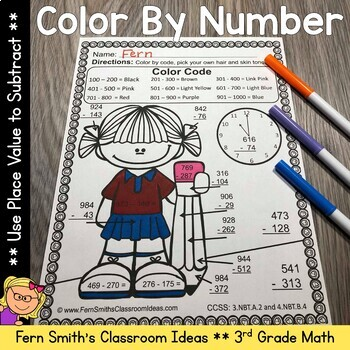 3rd Grade Go Math 1.10 Color By Numbers Subtract Multi-Digit Numbers to 1000