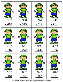 Subtraction Multi-Digit Numbers to 1000 Center and Printables