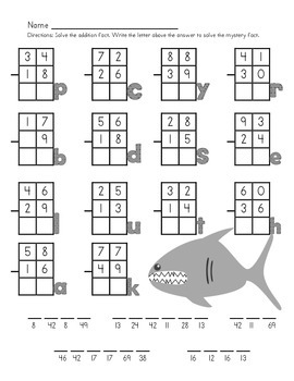 Subtraction Mystery Animal Fact Worksheets