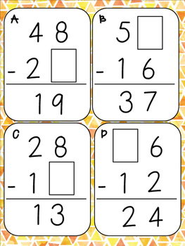 Subtraction Mystery Digit Math Center
