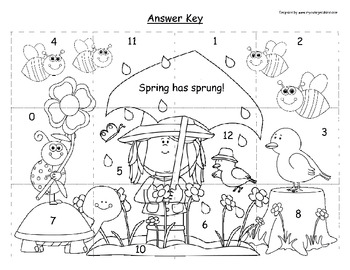 Subtraction Mystery Picture- Spring Has Sprung!