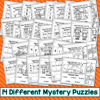 Subtraction Mystery Puzzles