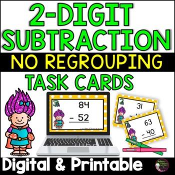 2 Digit Subtraction NO regrouping (Superhero theme) Task Cards