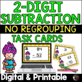 2-Digit Subtraction NO Regrouping (Superhero theme) Task Cards