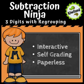Subtraction Ninja 3 Digit subtraction with Regrouping - Boom Learning Cards