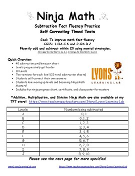 Subtraction Ninja Math: Fact Fluency Practice/Self Correcting Timed Tests