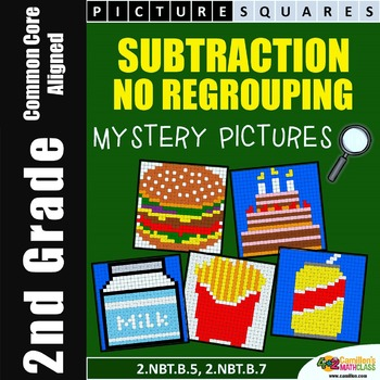 Subtraction Without Regrouping, Coloring Worksheets, Mystery Pictures