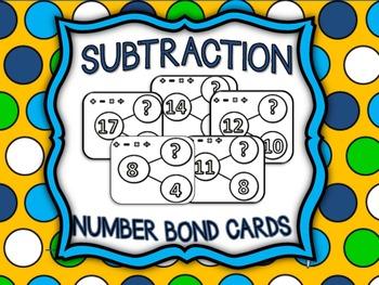 Subtraction Number Bond Flash Cards