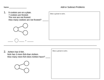 Subtraction Number Bond Templates and Ideas - Singapore Math