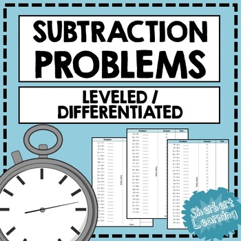 Subtraction Fluency Practice - Quick Number Facts Problems Differentiated Timed