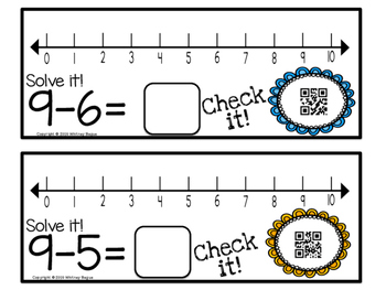 Subtraction Number Line Task Cards with QR Codes