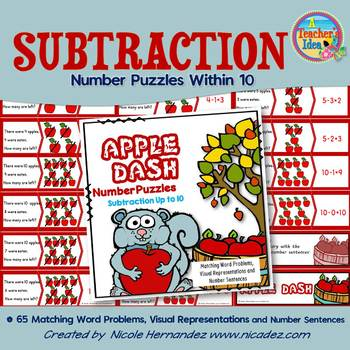 Subtraction Within 10 - Number  Puzzles