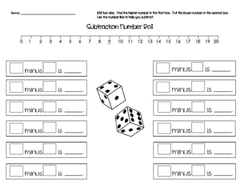 Subtraction Number Roll