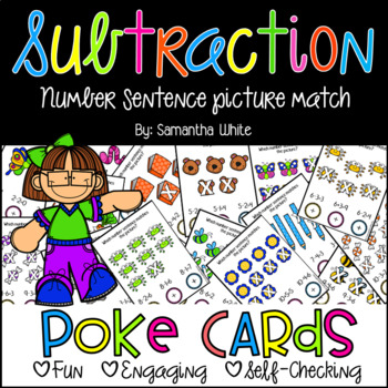 Subtraction Number Sentences with Pictures {Poke Cards}