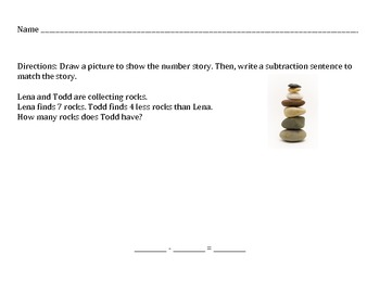Subtraction Number Stories Worksheets