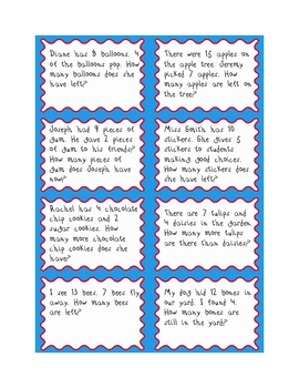 Subtraction Number Story Cards by Briawna | Teachers Pay Teachers
