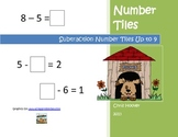 Subtraction Number Tiles Up to 9