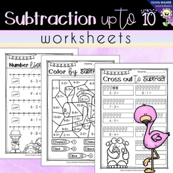 Subtraction to 10 Worksheets - Subtracting Numbers up to t