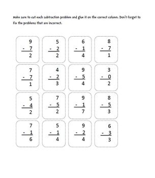 Subtraction (One-Digit Minus One-Digit) : Cut, Sort, and Paste Activity