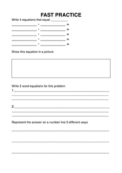 Subtraction Open Ended Question Task Sheet