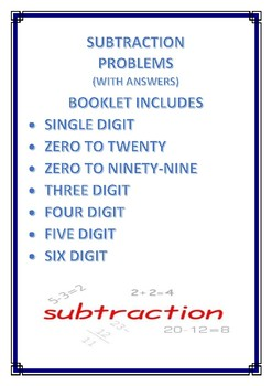 Subtraction Operations / Problems / Pretest / Assessment