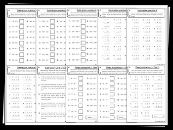 Subtraction Pack Whole Numbers (Hundreds and Thousands) 25+  PRACTICE printables
