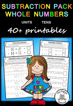 Subtraction Pack Whole Numbers (Units and Tens)  – 40+  PRACTICE printables