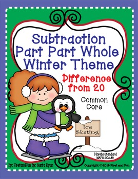 Subtraction Part Part Whole Winter Mat n Worksheet Common Core MAFS Envision rvd