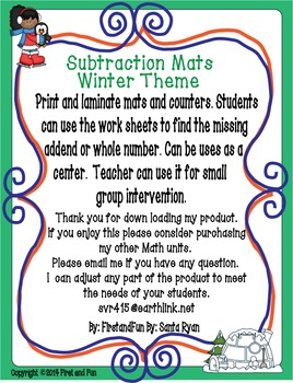 Subtraction Part Part Whole Winter Mat n Worksheet Common Core MAFS Envision rvd