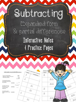 Subtraction Partial Differences Notes and Practice