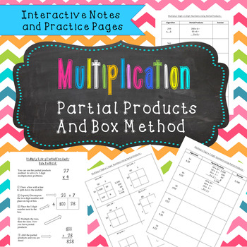 Multiplication Partial Products Notes and Practice