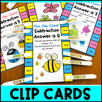 Subtraction Pick, Flip and Check Cards [Australian UK NZ Edition]