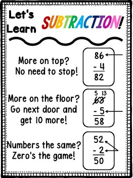 Subtraction Poem Reference Poster