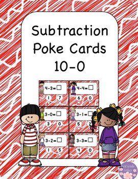 Subtraction Poke Cards 10-0