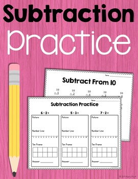 Subtraction Practice - Number Lines, 100 Charts, Ten Frames, & More!