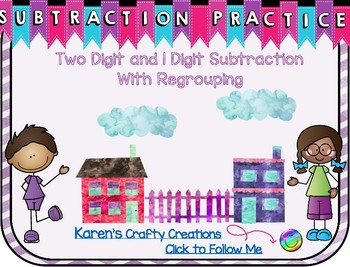 Subtraction Practice - 2 digit 1 digit with regrouping