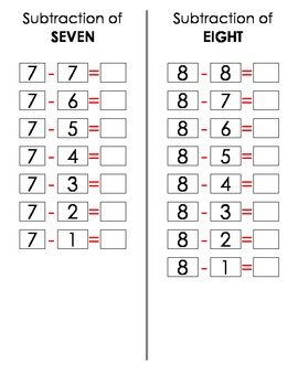 Subtraction Practice Booklet