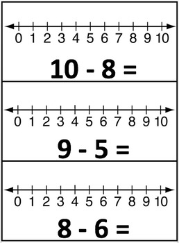 Subtraction Practice Cards! Cross Out, Number Line & Word Problems