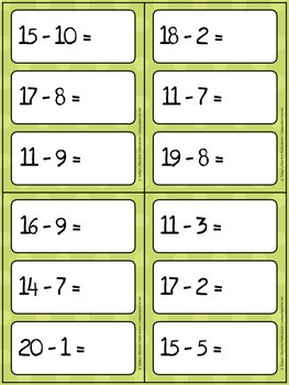 Subtraction Practice Cards (Dry Erase)