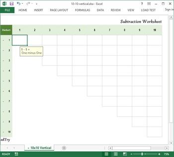 Subtraction Practice Excel Worksheet