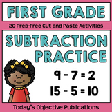 Subtraction Practice (First Grade Cut and Paste Practice)