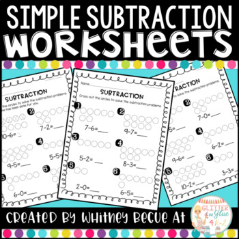 Simple Subtraction Worksheets {An introduction to subtraction}