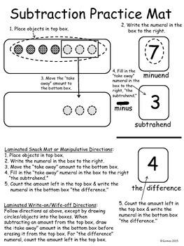 Subtraction Practice Mat Mini-Packet